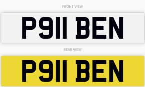 P911 BEN , number plate on retention