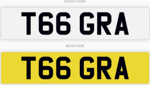 T66 GRA , number plate on retention