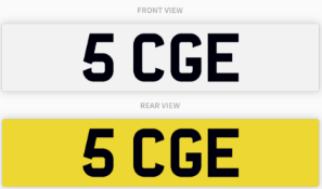 5 CGE , number plate on retention