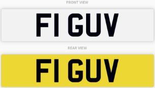 F1 GUV , number plate on retention