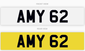 AMY 62 , number plate on retention