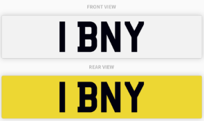 1 BNY , number plate on retention