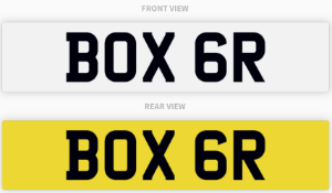 BOX 6R , number plate on retention