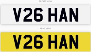 V26 HAN , number plate on retention