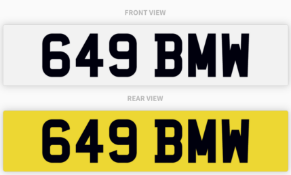 649 BMW , number plate on retention