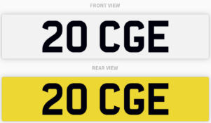 20 CGE , number plate on retention