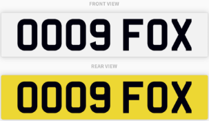OO09 FOX , number plate on retention