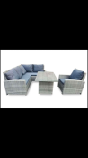 Rattan style garden dining set with weatherproof cover
