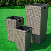 Set of 3 Rattan Planters in Grey mix rattan