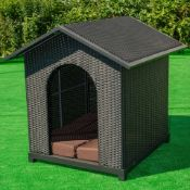 Black Rattan Dog Kennel