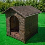 Brown Rattan Dog Kennel