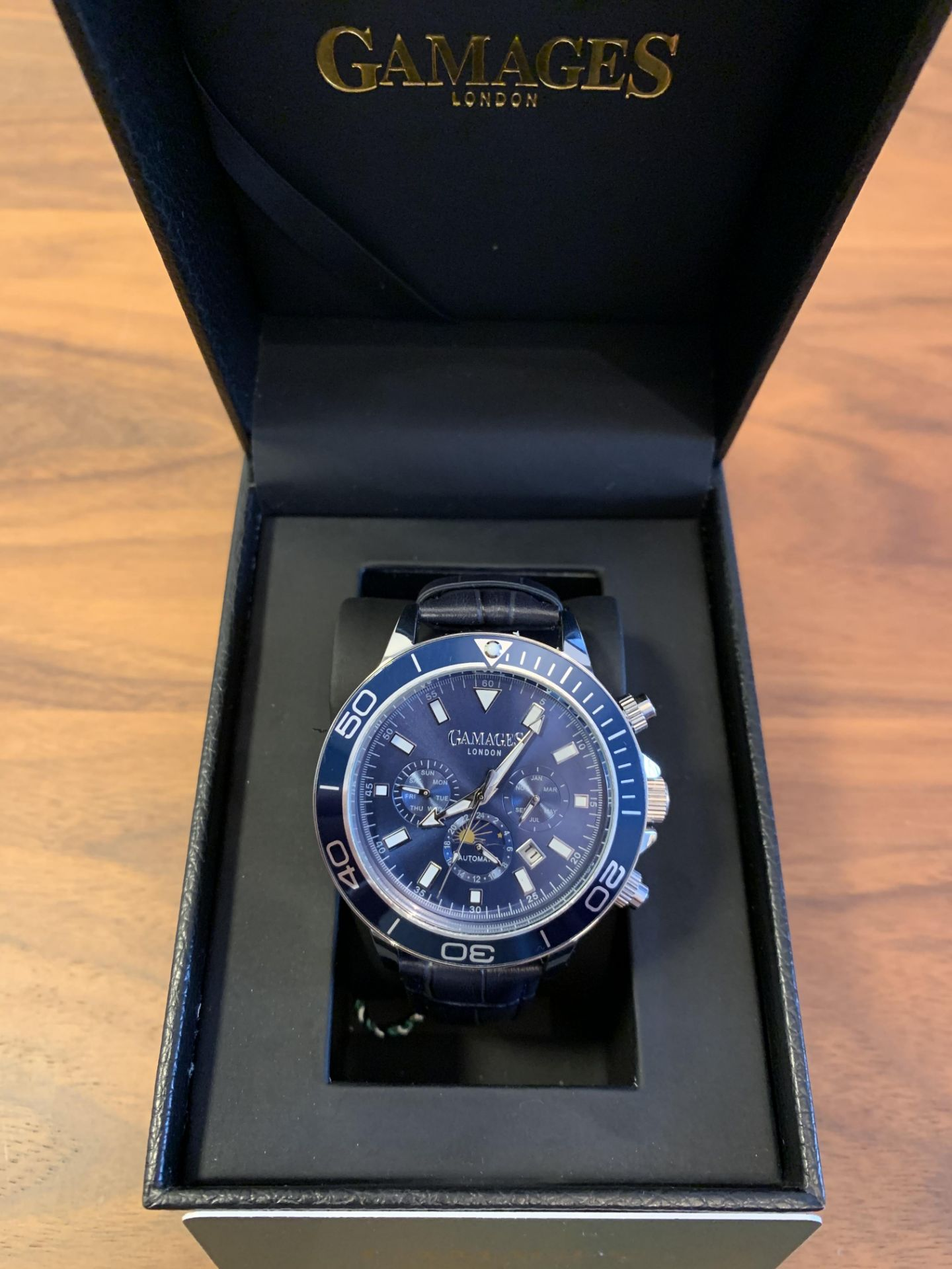 Ltd Edition Hand Assembled Gamages Rotating Moon Phase Automatic Steel –5Yr Warranty & Free Delivery
