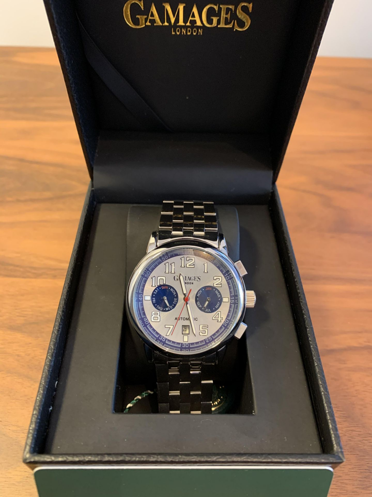 Limited Edition Hand Assembled Gamages Triple Date Automatic Steel – 5 Year Warranty & Free Delivery