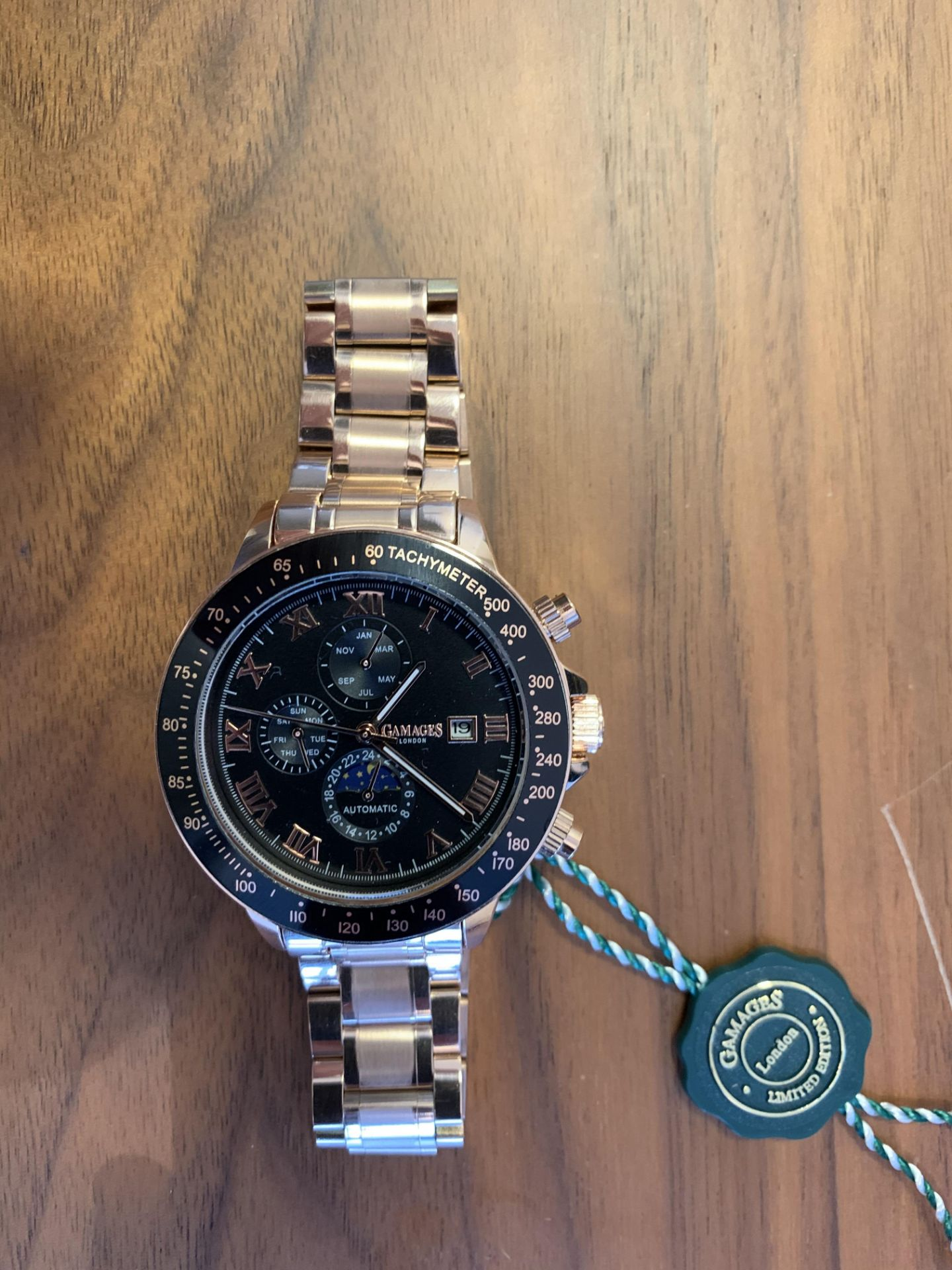 Ltd Edition Hand Assembled Gamages Race Calendar Automatic Rose – 5 Year Warranty & Free Delivery - Image 2 of 5