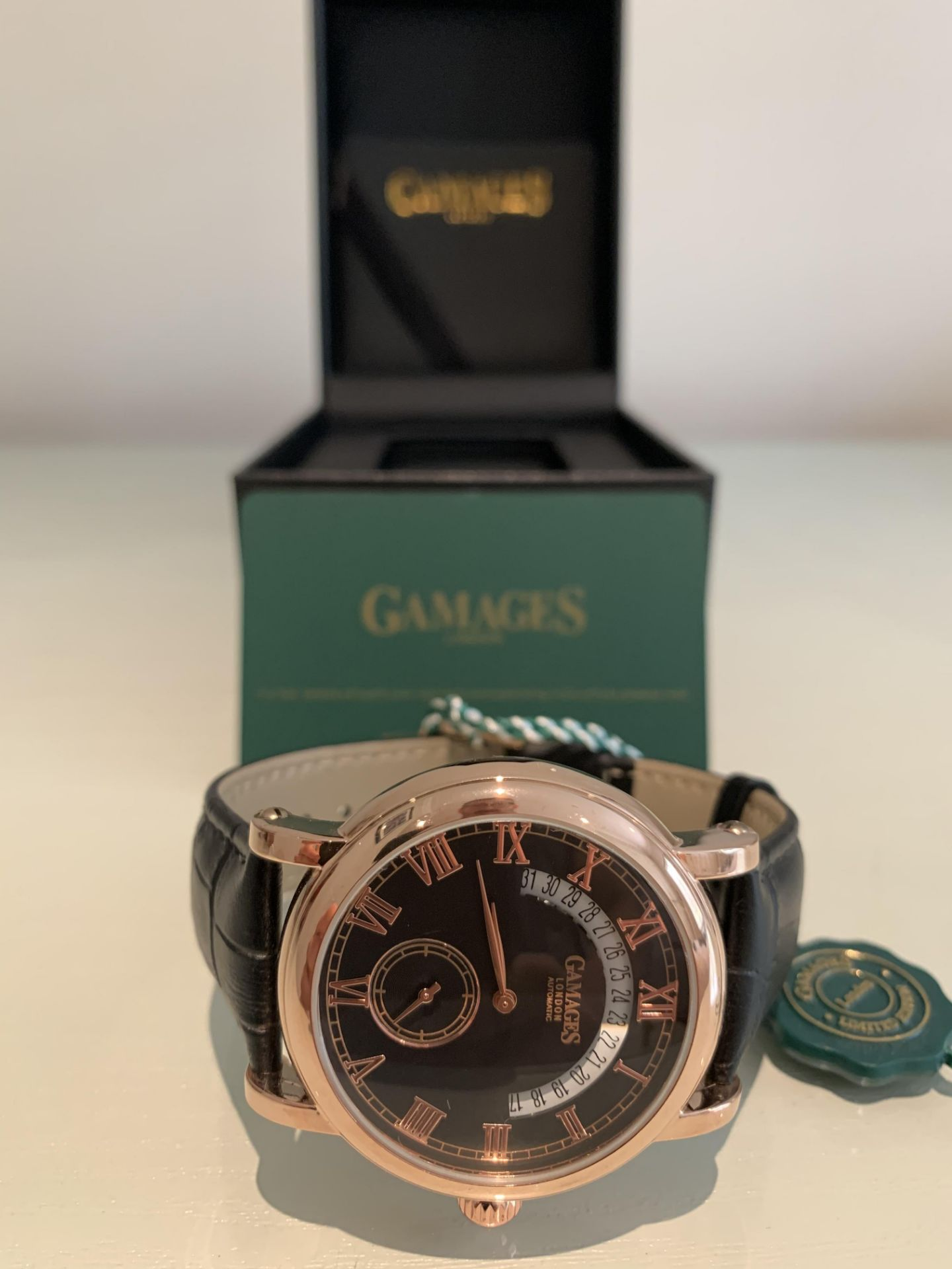 Limited Edition Hand Assembled Gamages Split Date Automatic Rose – 5 Year Warranty & Free Delivery - Image 3 of 5