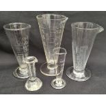 Antique Selection of 7 Glass Items Includes Apothecary Measuring Glasses