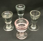 Four Victorian Glass Penny Lick Glasses