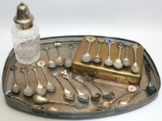 Vintage Silver Plated Galleried Tray Collectors Spoons etc.