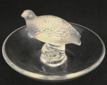 Vintage Lalique Glass Grouse Pin Dish 4 inches Diameter