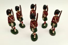 Vintage 6 x Wend-al Metal Toy Soldiers 7cm Tall