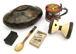 Antique Rowntree York Toffee Tin & Scottish Horn Spoon etc.