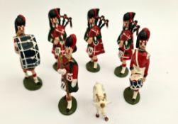 Vintage 6 x Metal Toy Soldiers & Mascot Goat