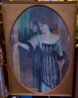 Antique Art Large Framed Painting Elegant Lady Watercolour & Pastel Signed Fr Reusing 1912