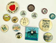 Vintage 15 Assorted Metal Badges Includes Bob Dylan Street Legal Badge