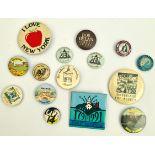 Vintage 15 Assorted Metal Badges Includes Bob Dylan Street Legal Badge