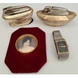 Two Ronson Table Lighters A Wrist Watch & Portrait Print