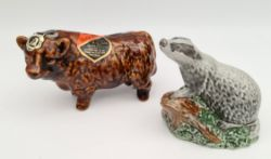 Vintage Miniature Whisky Bottles Beswick Badger & a Bull