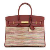 Hermès Rouge H Box Calf Leather Vibrato Birkin 35Cm