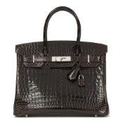 Hermès Marron Fonce Shiny Niloticus Crocodile Leather Birkin 30Cm