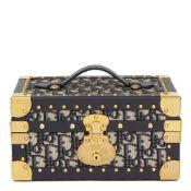 Christian Dior Blue Oblique Monogram Canvas & Calfskin Leather Jewellery Case