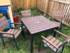 Outdoor table and 4 chairs, commercial-grade