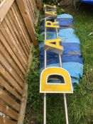 Restaurant galvanised sign with big letters