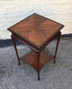 Antique Edwardian square topped occaional table with under teir.