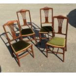Antique Set of 4 fret back and inlaid Edwardian chairs