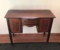 Antique Edwardian mahogany and satinwood inlaid sideboard.