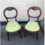 Antique pair of Victorian balloon back side chairs