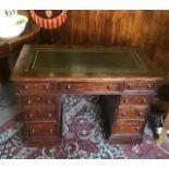 Antique late victorian mahogany kneehole desk.