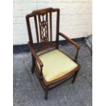 Antique childs inlaid elbow chair.