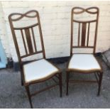 Antique Pair of Edwardian inlaid chairs.