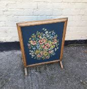 Antique vintage oak framed fire screen.