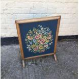 Antique vintage oak framed fire screen.