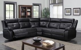 Brand new boxed langdale corner reclining sofa in black leather