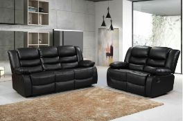 Brand new boxed 3 seater plus 2 seater miami black leather reclining sofas