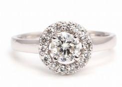 18k White Gold Halo Set Diamond Ring 0.86 Carats