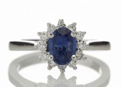 18k White Gold Diamond And Sapphire Cluster Ring 0.25 Carats
