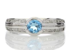9k White Gold Double Channel Set Diamond and Blue Topaz Ring